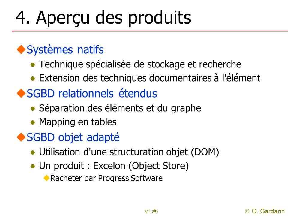 4. Aperçu des produits Systèmes natifs SGBD relationnels étendus