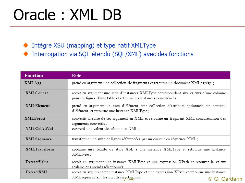 Oracle : XML DB Intègre XSU (mapping) et type natif XMLType
