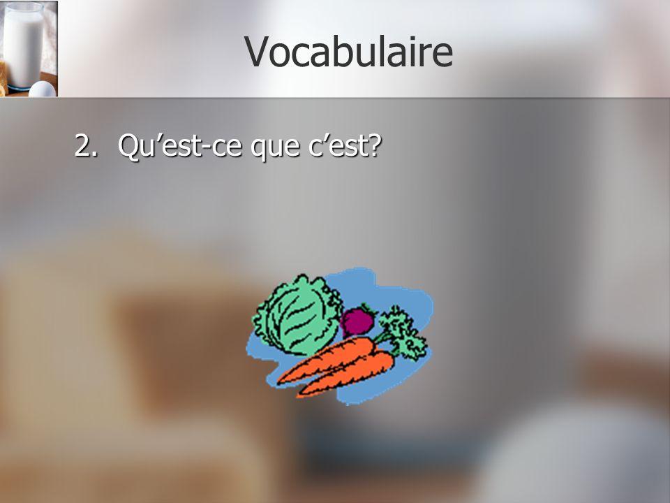 Vocabulaire 2. Qu'est-ce que c'est