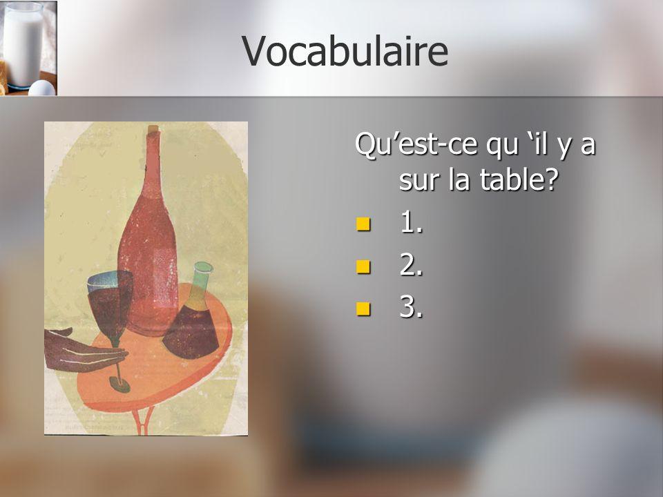 Vocabulaire Qu'est-ce qu 'il y a sur la table 1. 2. 3.