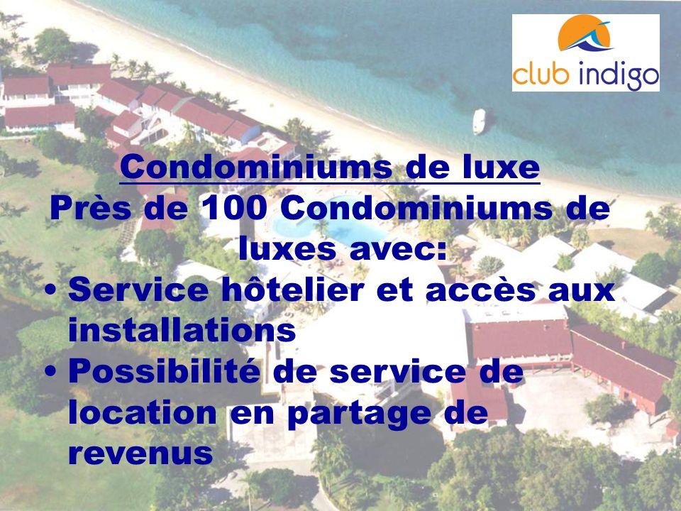 Près de 100 Condominiums de luxes avec: