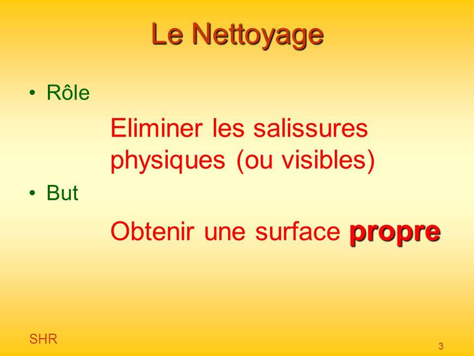 Le Nettoyage Eliminer les salissures physiques (ou visibles)