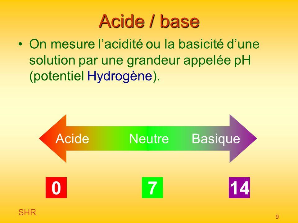 Acide / base On mesure l'acidité ou la basicité d'une solution par une grandeur appelée pH (potentiel Hydrogène).