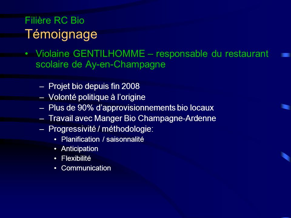 Filière RC Bio Témoignage