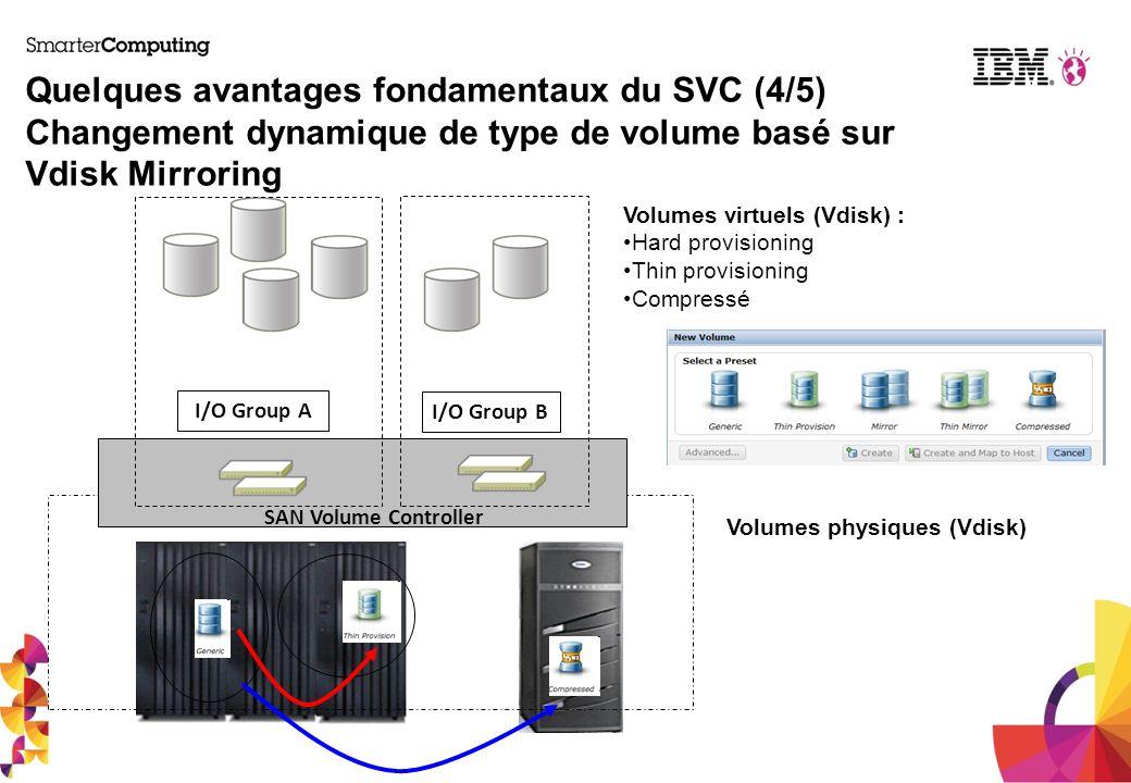 Quelques avantages fondamentaux du SVC (4/5) Changement dynamique de type de volume basé sur Vdisk Mirroring