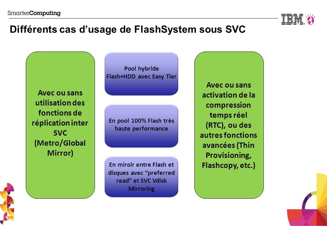 Différents cas d'usage de FlashSystem sous SVC