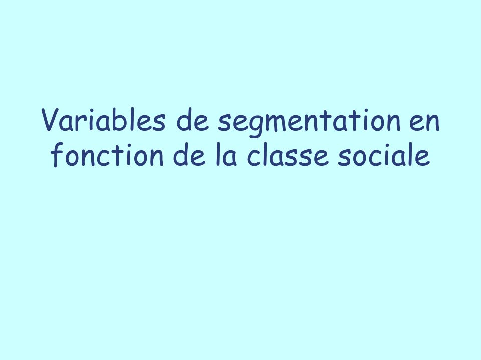 Variables de segmentation en fonction de la classe sociale