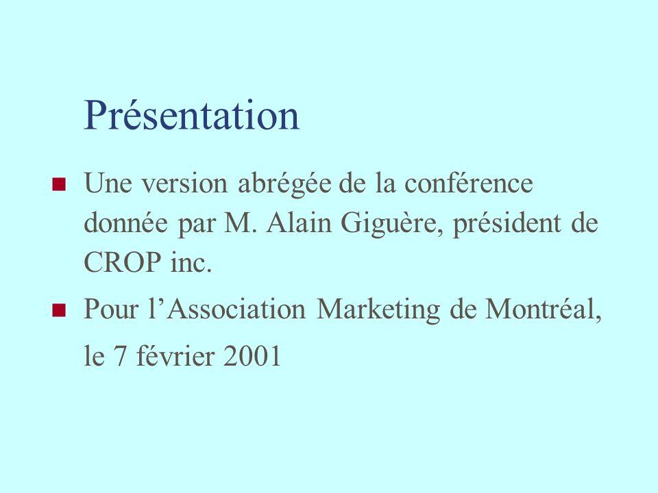 Présentation Une version abrégée de la conférence donnée par M. Alain Giguère, président de CROP inc.