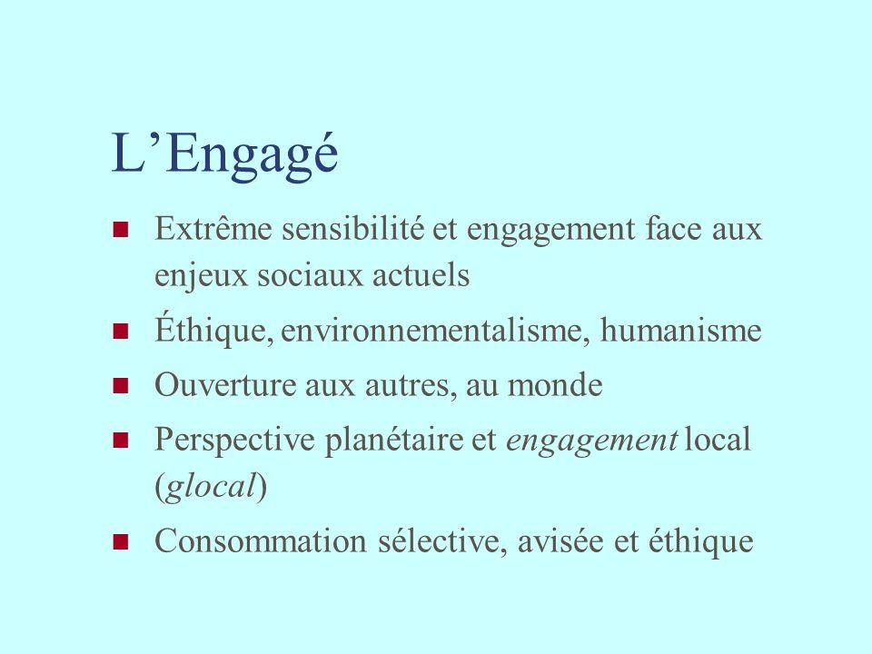L'Engagé Extrême sensibilité et engagement face aux enjeux sociaux actuels. Éthique, environnementalisme, humanisme.