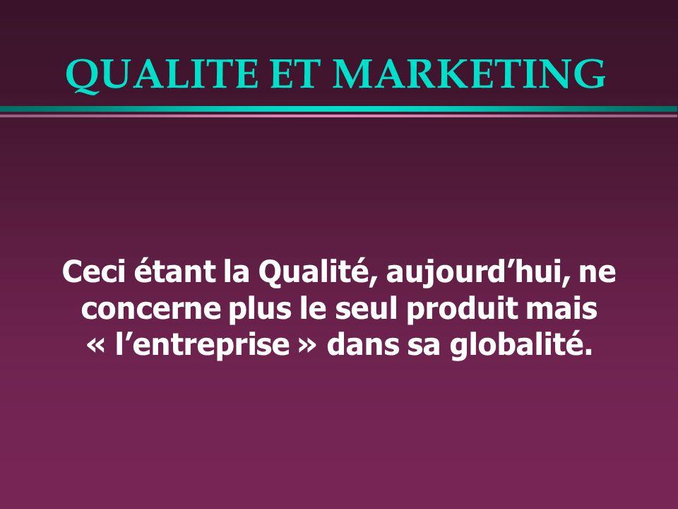 QUALITE ET MARKETING Ceci étant la Qualité, aujourd'hui, ne concerne plus le seul produit mais « l'entreprise » dans sa globalité.