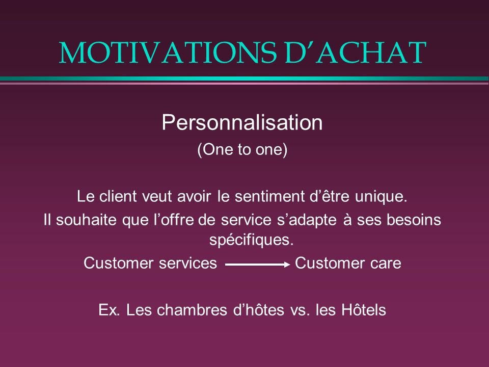 MOTIVATIONS D'ACHAT Personnalisation (One to one)