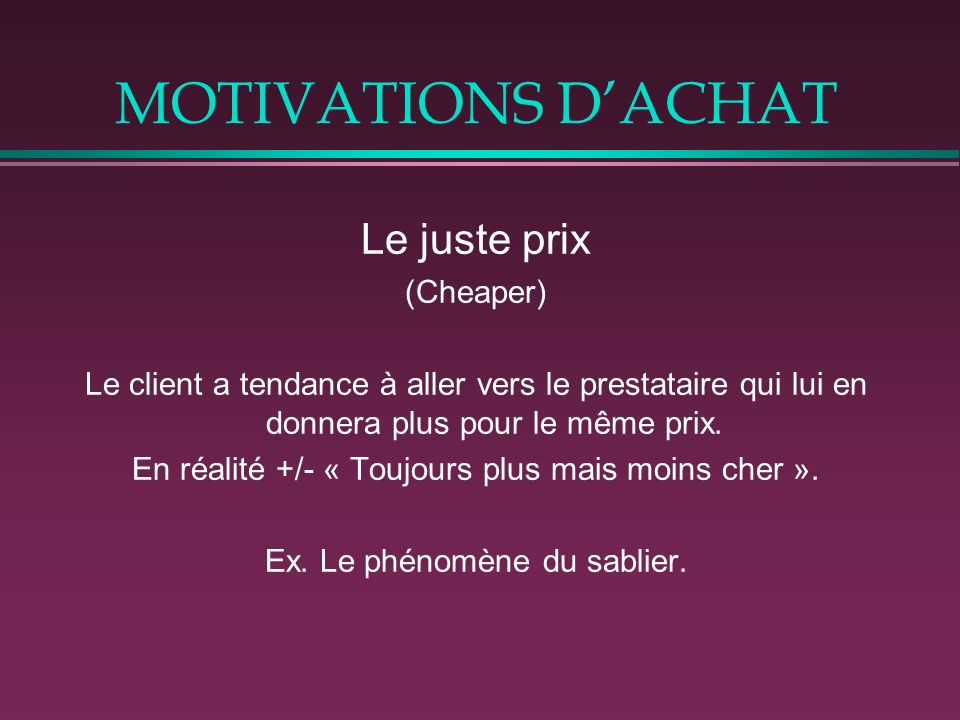 MOTIVATIONS D'ACHAT Le juste prix (Cheaper)