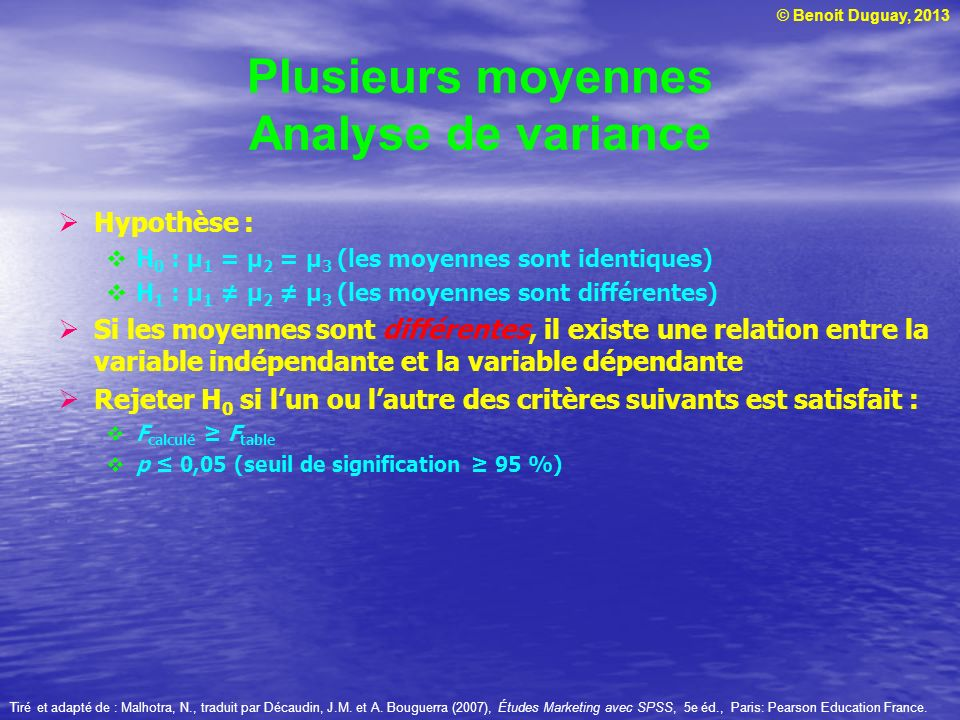 Plusieurs moyennes Analyse de variance