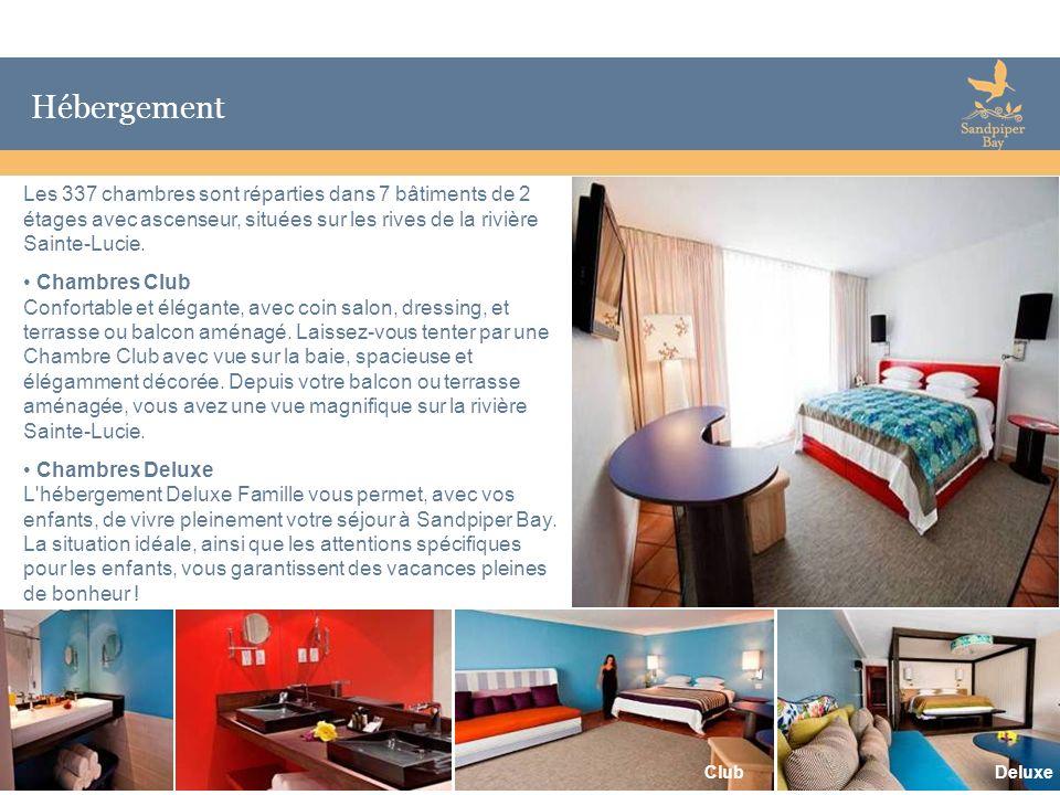 HébergementLes 337 chambres sont réparties dans 7 bâtiments de 2 étages avec ascenseur, situées sur les rives de la rivière Sainte-Lucie.