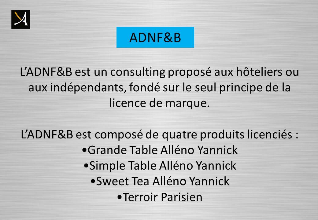 ADNF&B L'ADNF&B est un consulting proposé aux hôteliers ou aux indépendants, fondé sur le seul principe de la licence de marque.