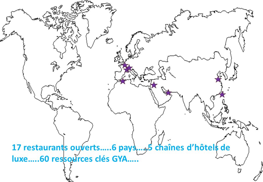 17 restaurants ouverts…. 6 pays…. 5 chaînes d'hôtels de luxe…