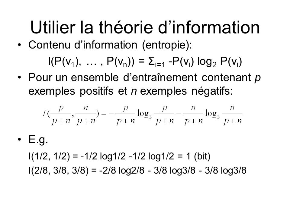 Utilier la théorie d'information