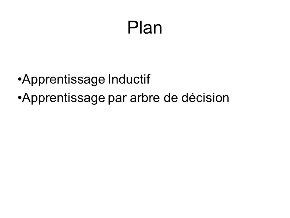 Plan Apprentissage Inductif Apprentissage par arbre de décision