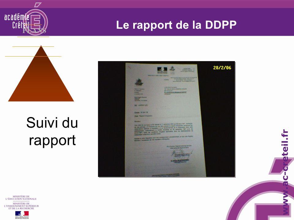 Suivi du rapport Le rapport de la DDPP PLANS