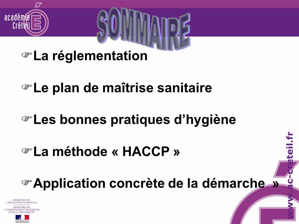 SOMMAIRE La réglementation Le plan de maîtrise sanitaire