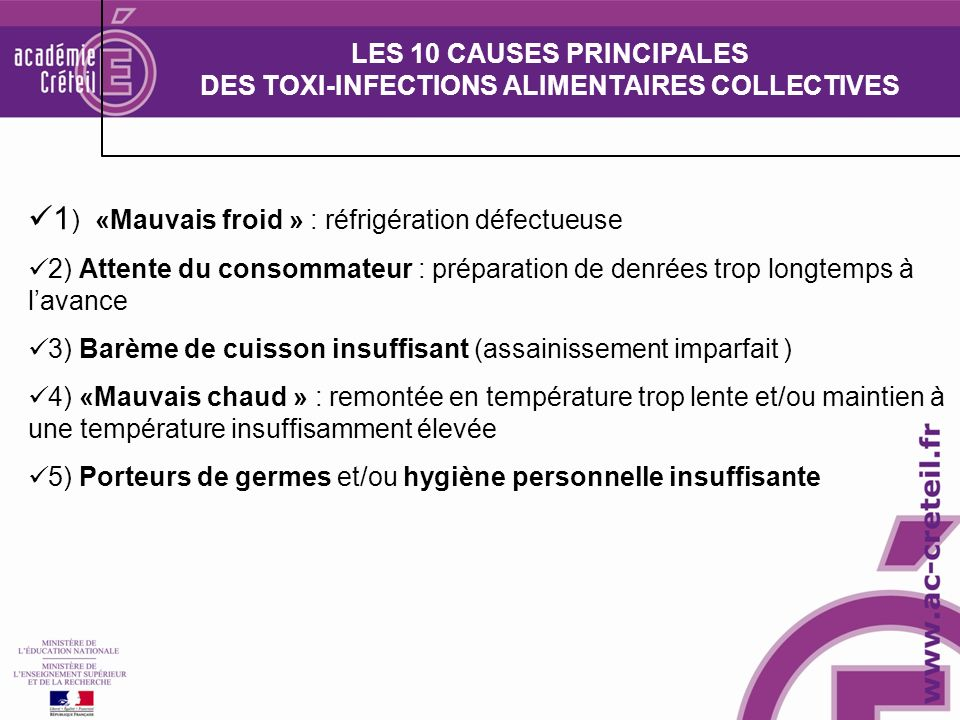 LES 10 CAUSES PRINCIPALES DES TOXI-INFECTIONS ALIMENTAIRES COLLECTIVES
