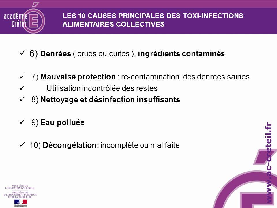 6) Denrées ( crues ou cuites ), ingrédients contaminés
