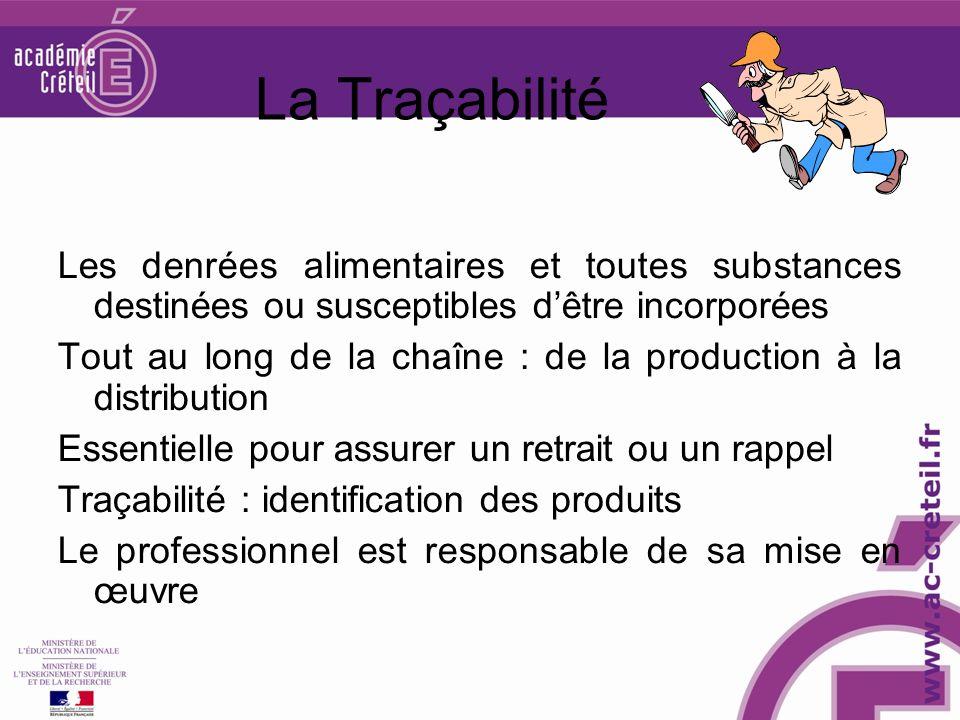 La Traçabilité Les denrées alimentaires et toutes substances destinées ou susceptibles d'être incorporées.