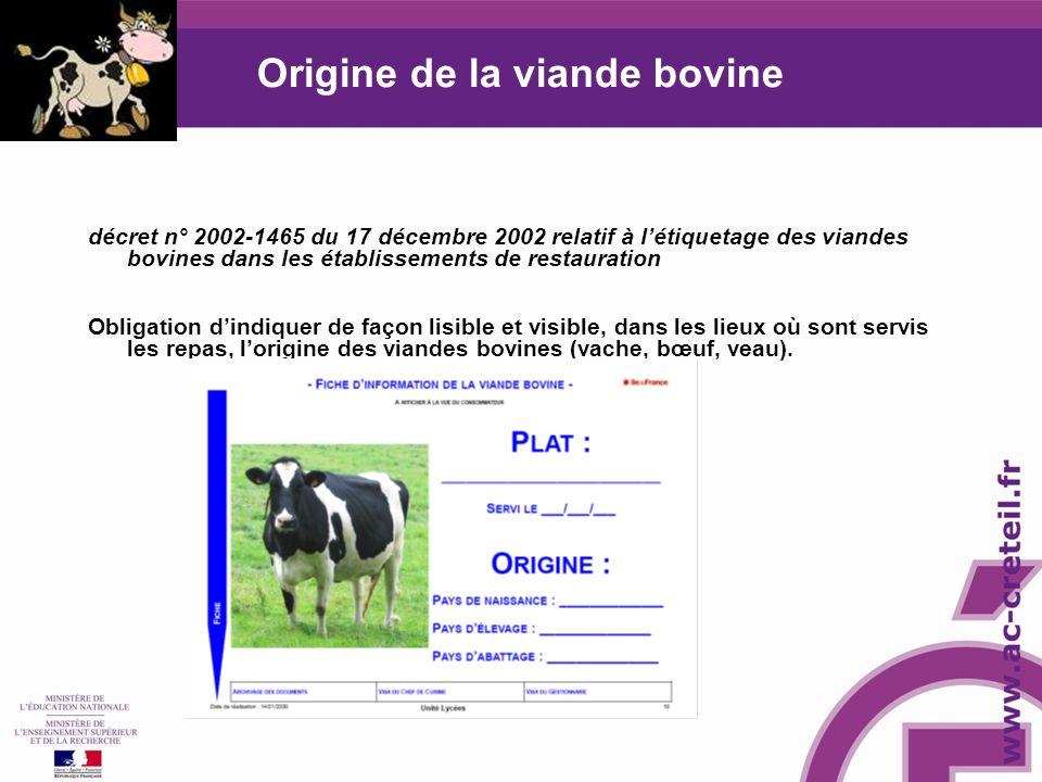Origine de la viande bovine