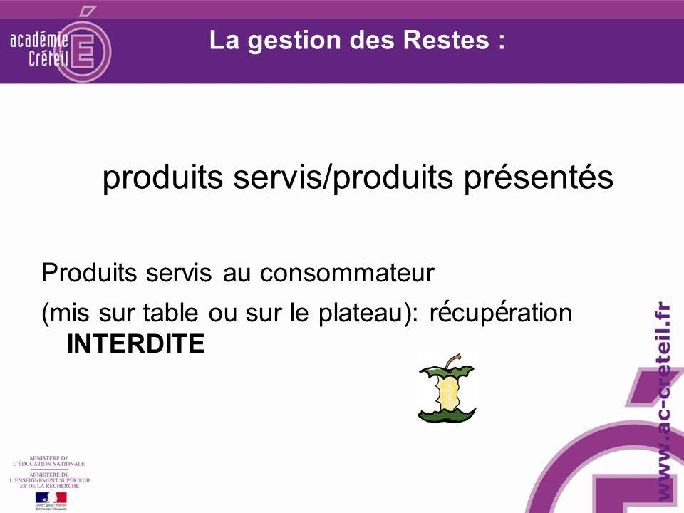 La gestion des Restes : produits servis/produits présentés