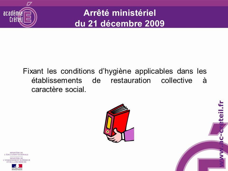 Arrêté ministériel du 21 décembre 2009