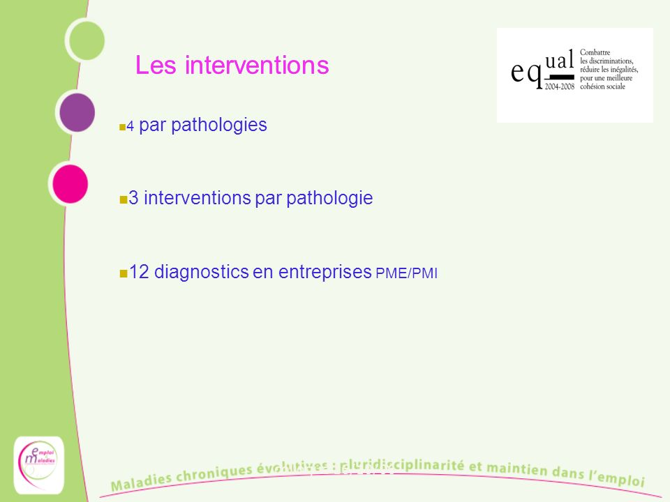 Les interventions 3 interventions par pathologie