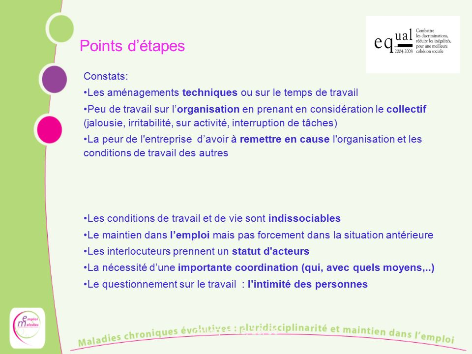 Points d'étapes Constats: