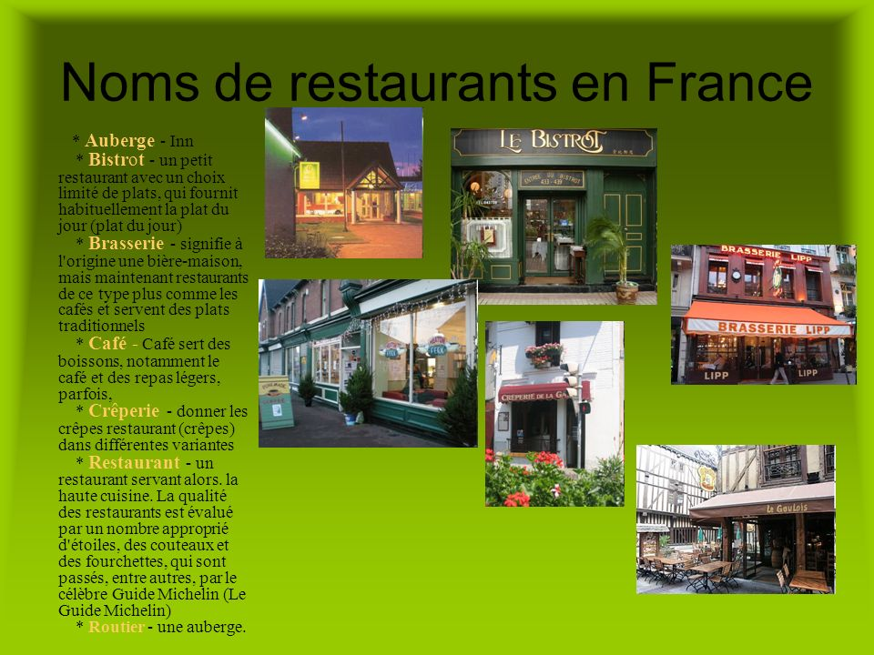 Noms de restaurants en France