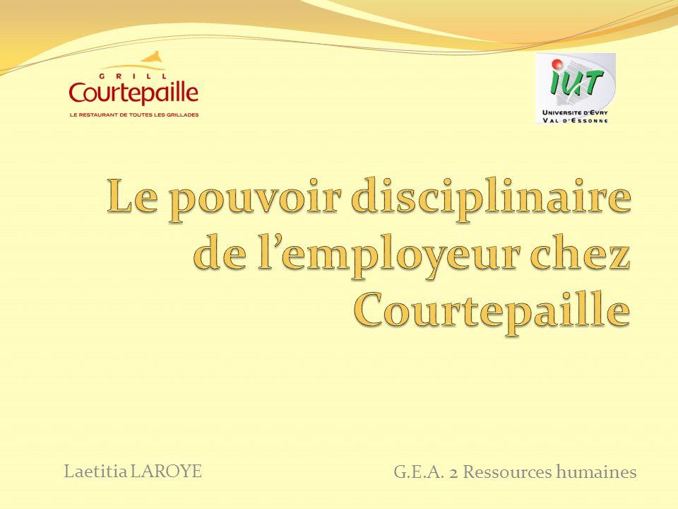 Le pouvoir disciplinaire de l'employeur chez Courtepaille