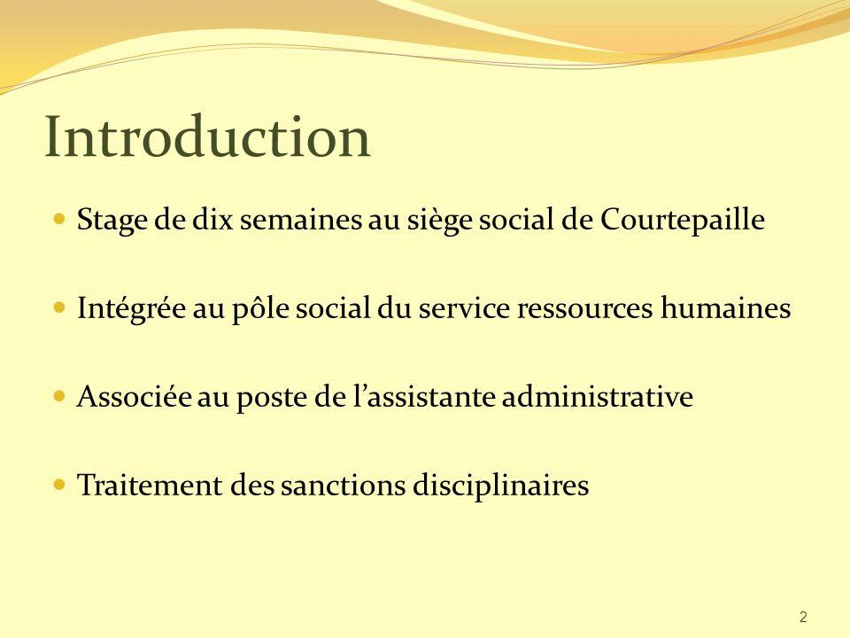 Introduction Stage de dix semaines au siège social de Courtepaille