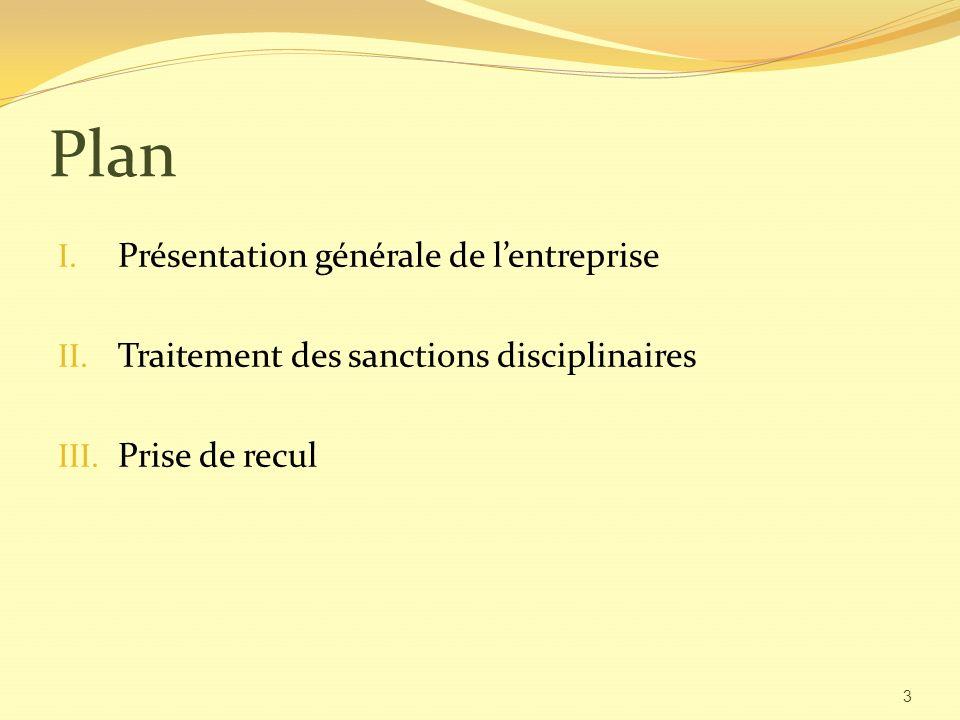 Plan Présentation générale de l'entreprise