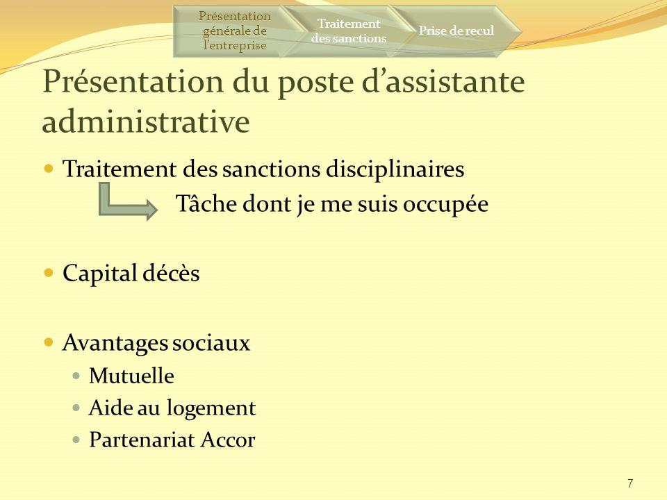 Présentation du poste d'assistante administrative