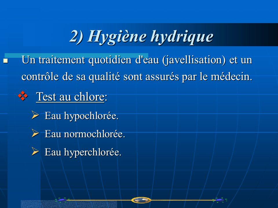 2) Hygiène hydrique Test au chlore: