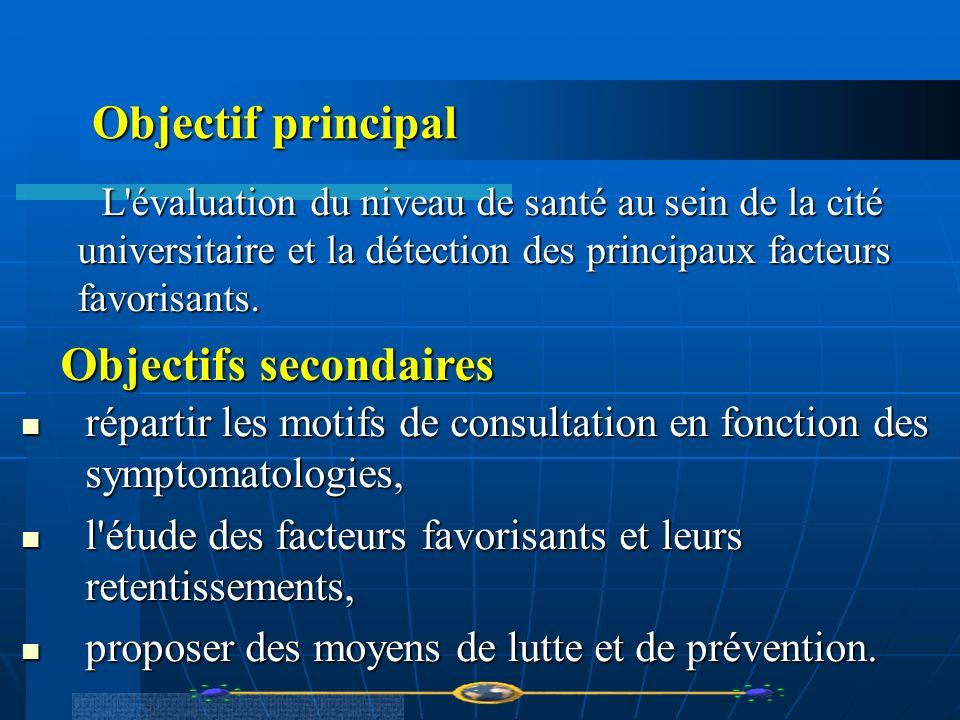 Objectifs secondaires
