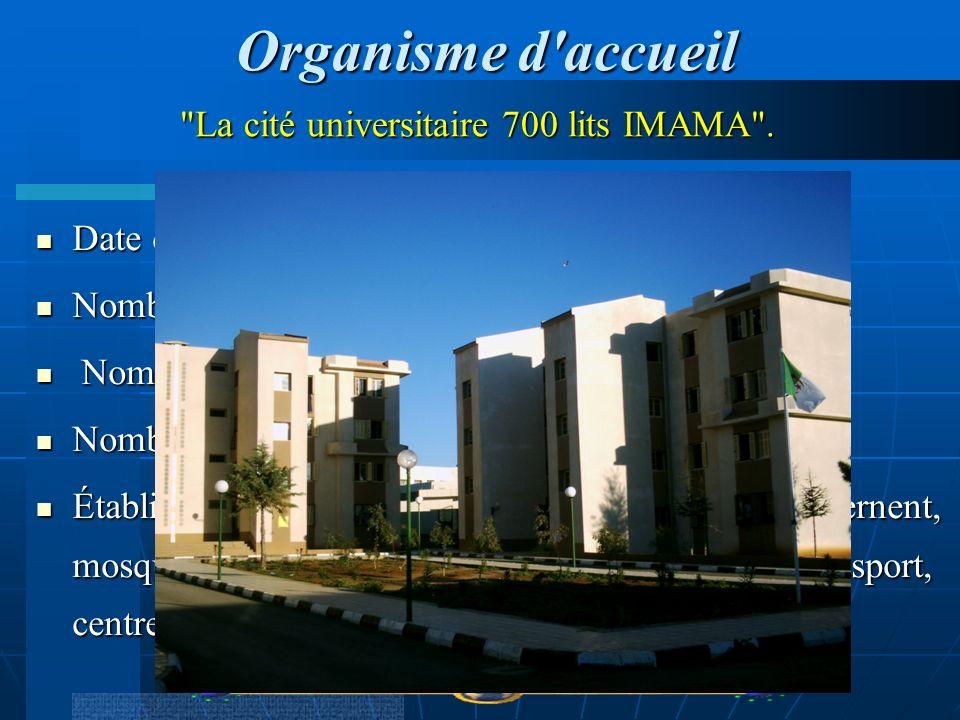 Organisme d accueil La cité universitaire 700 lits IMAMA .