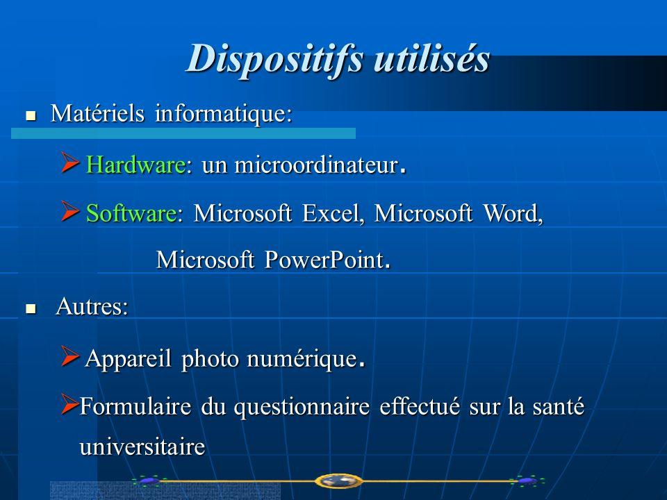 Dispositifs utilisés Matériels informatique: