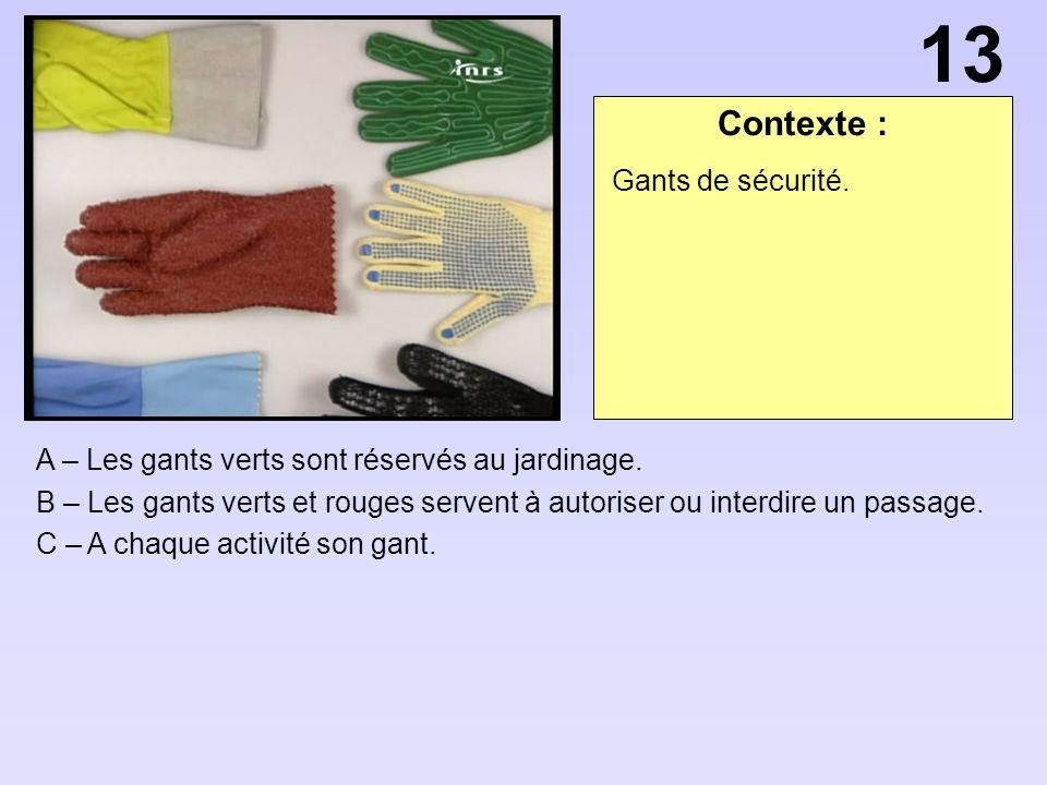 13 Contexte : Gants de sécurité.