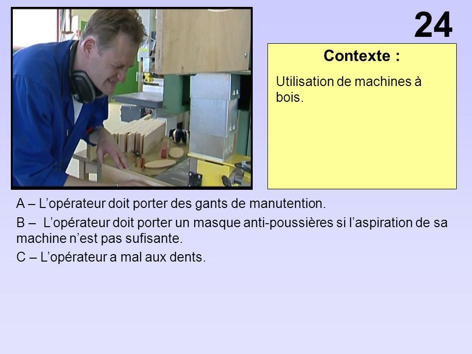 24 Contexte : Utilisation de machines à bois.