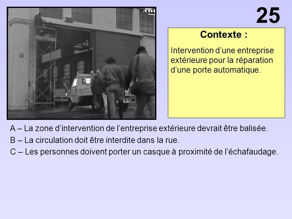 25 Contexte : Intervention d'une entreprise extérieure pour la réparation d'une porte automatique.