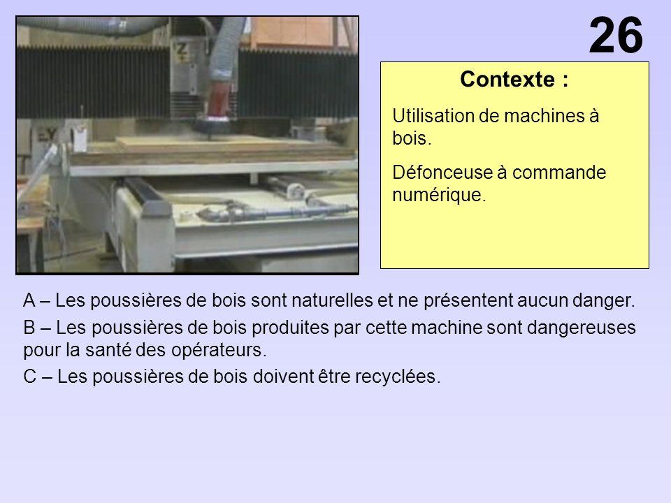26 Contexte : Utilisation de machines à bois.