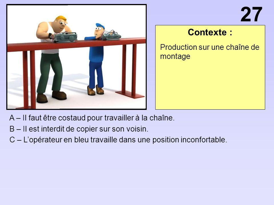 27 Contexte : Production sur une chaîne de montage