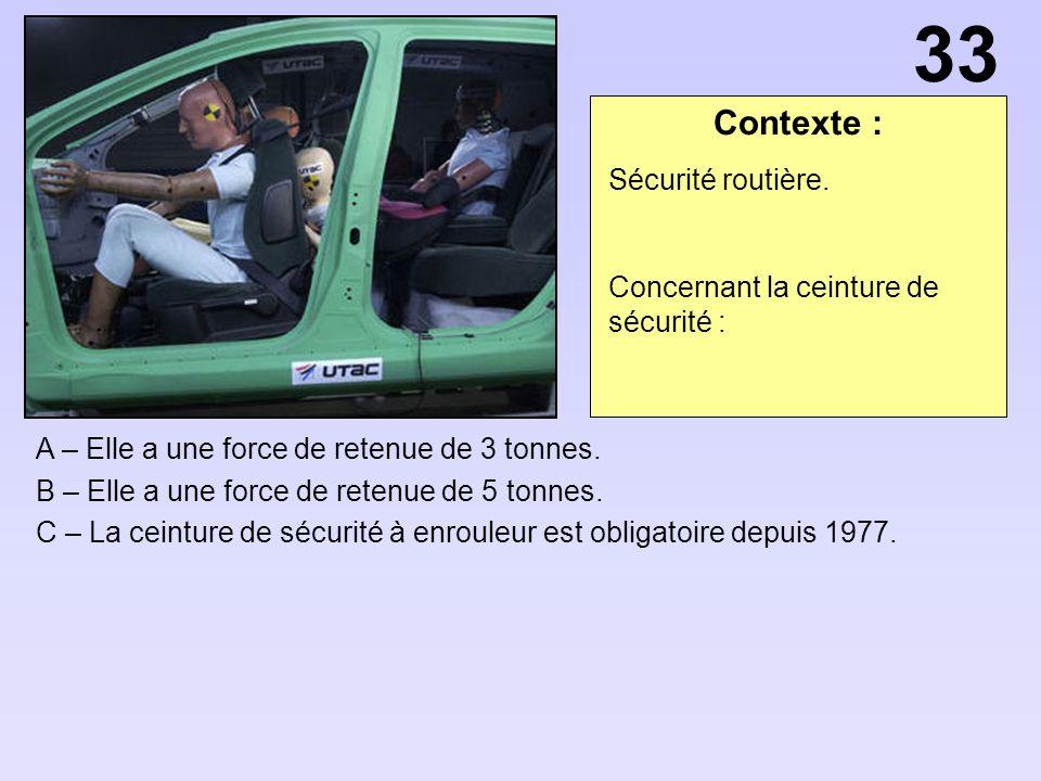 33 Contexte : Sécurité routière. Concernant la ceinture de sécurité :