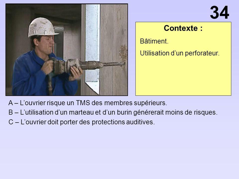 34 Contexte : Bâtiment. Utilisation d'un perforateur.