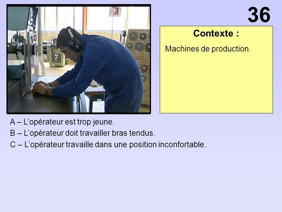 36 Contexte : Machines de production. A – L'opérateur est trop jeune.