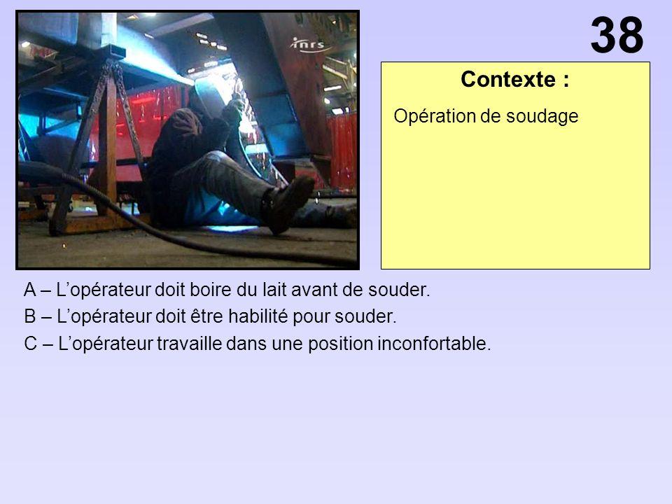 38 Contexte : Opération de soudage